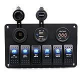 Anxinke 6 Gang Waterproof Car Auto Boat Marine [Digital Voltmeter] [12V Cigarette Socket] [Double USB Power Charger Adapter] LED Rocker Switch Panel Circuit Breakers