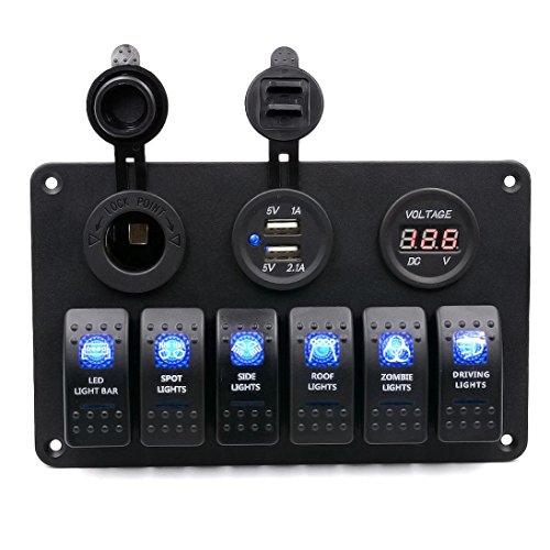 Transmission Jumper Wiring (Anxinke 6 Gang Waterproof Car Auto Boat Marine [Digital Voltmeter] [12V Cigarette Socket] [Double USB Power Charger Adapter] LED Rocker Switch Panel Circuit Breakers)
