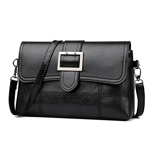 Messenger PU Shoulder Bag Handbag Flap Casual Pure Black Bag Leather Women Everpert CqIwEHn