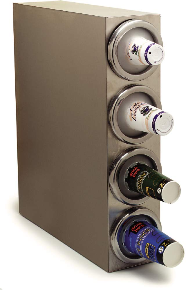 Carlisle 38884G Stainless Steel 18-8 Square Cabinet with Four Cup Dispensers, 25'' x 7'' x 29-1/8''