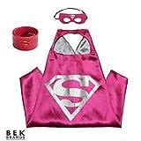 Bek Brands Supergirl with Snap Bracelet Superhero Cape and Mask Set | Dress up Satin Cape and Felt Mask