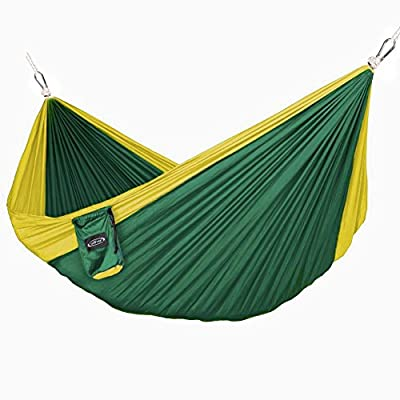 G4Free Double Camping Hammock - Portable High Strength Hammock - Lightweight Blend Color Nylon Fabric Parachute for Outdoor. Hammock Straps & Steel Carabiners include