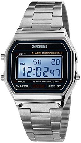Fanmis Digital Sports Watch Multifunction Waterproof Daily Alarm Stainless Steel Watch