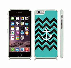 iStar Cases? iPhone 6 Plus Case with Chevron Pattern Stripe Turquoise Anchor Black , Snap-on Cover, Hard Carrying Case (White)