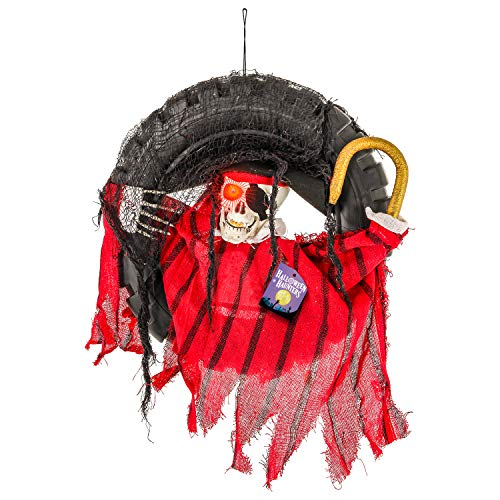 Halloween Haunters Animated Hanging Skull Pirate with Swinging Hook Arm Skeleton Head in Tire Swing Prop Decoration - 16