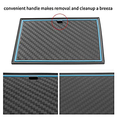JIECHEN Custom Fit Cup Holder, Door, and Center Console Liner Accessories for Ford F-150 2020 2020 2020 2020 28-pc Set (Carbon Fiber Pattern - Blue): Automotive