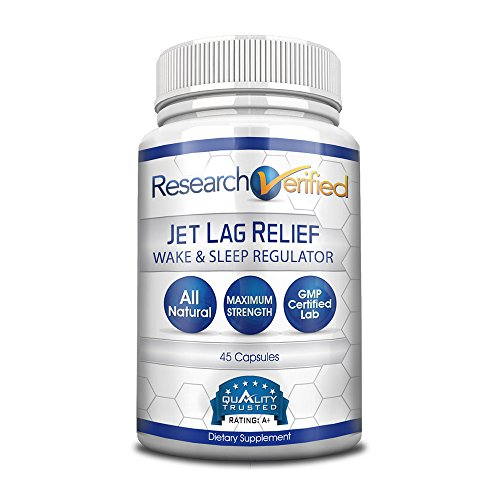 Research Verified Jet Lag Relief - The Best Jet Lag Supplement on the Market - With L-Ornithine, L-theanine and GABA. 100% money back guarantee! - 1 Bottle Supply (9 Flights)