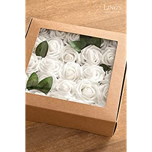 Ling's moment Artificial Flowers 50pcs Real Looking Dusty Rose Fake Roses w/Stem for DIY Wedding Bouquets Centerpieces Bridal Shower Party Home Decorations 2