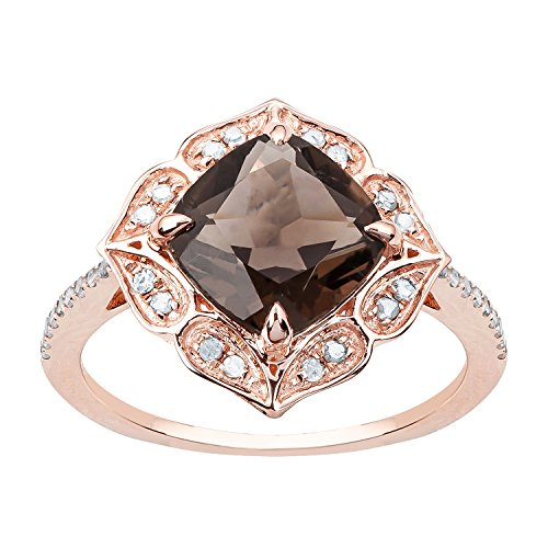 - 10k Rose Gold Vintage Style Cushion Smoky Quartz and Diamond Ring
