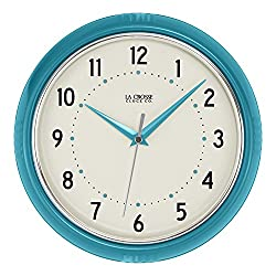 La Crosse Technology 404-2624T 9.5 Round Teal Blue Retro Diner Analog Wall Clock