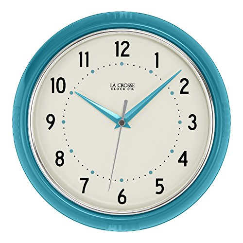 La Crosse Technology 404-2624T La Crosse 9.5 Inch Round Teal Blue Retro Diner Analog Wall Clock