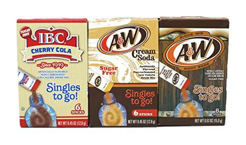 Bundle - A&W Cream Soda Sugar Free 6 Singles To Go (0.45oz), A&W Root Beer Sugar Free 6 Singles To Go (0.53oz), IBC Cherry Cola Sugar Free 6 Singles To Go (0.45oz)