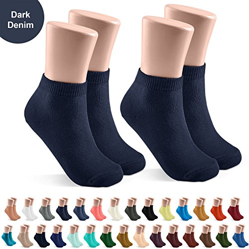 JRP 2 Pack Soft Cotton Crew Socks for Babies, Toddlers, Boys and Girls - Dark Denim - Size ()