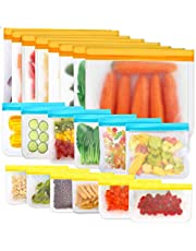 20 Pack Reusable Ziplock Large Bags, Leakproof Reusable Snack Sandwich Bags , Freezer Safe Bags Extra-Thick BPA free Reusable Food Storage Bags for Lunch, Fruits, Veggies, Marinate Meats, Make-up Toiletries and Travel Items.