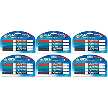 Expo Low Odor Dry Erase Pen Style Markers, 4 Colored Markers [86674] (Pack of 6) Total 24 Markers