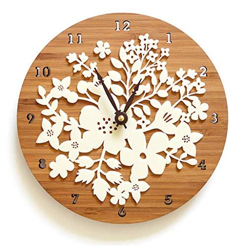 - 1 Pcs Acrylic Wall Clock Modern Design Flower 3D Sticker Creative Nordic Clocks Imitation Wood Clocks Wall Watch Home Decor