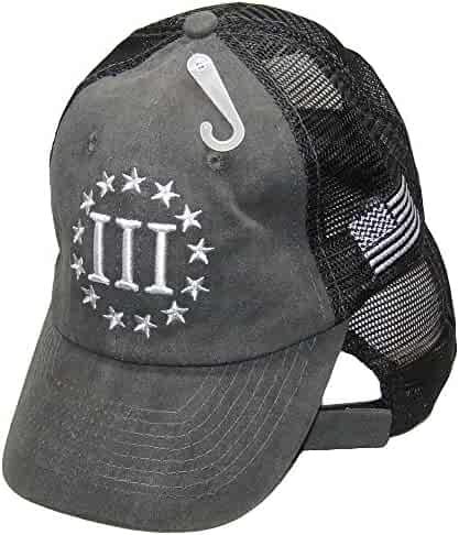 1be709267a060 K s Novelties Tactical Embroidered Nyberg 3 Percenters USA Flag Charcoal  Washed Mesh Hat Cap