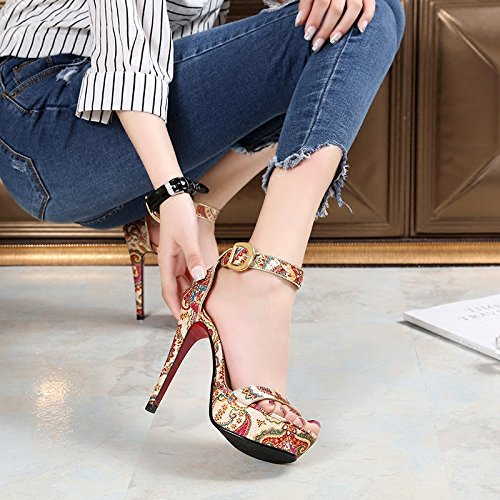 Custom Folk toed Shoes Retro Open Sandals Summer Strap Beige High Women's heeled Buckle Platform H5nw77qEZx