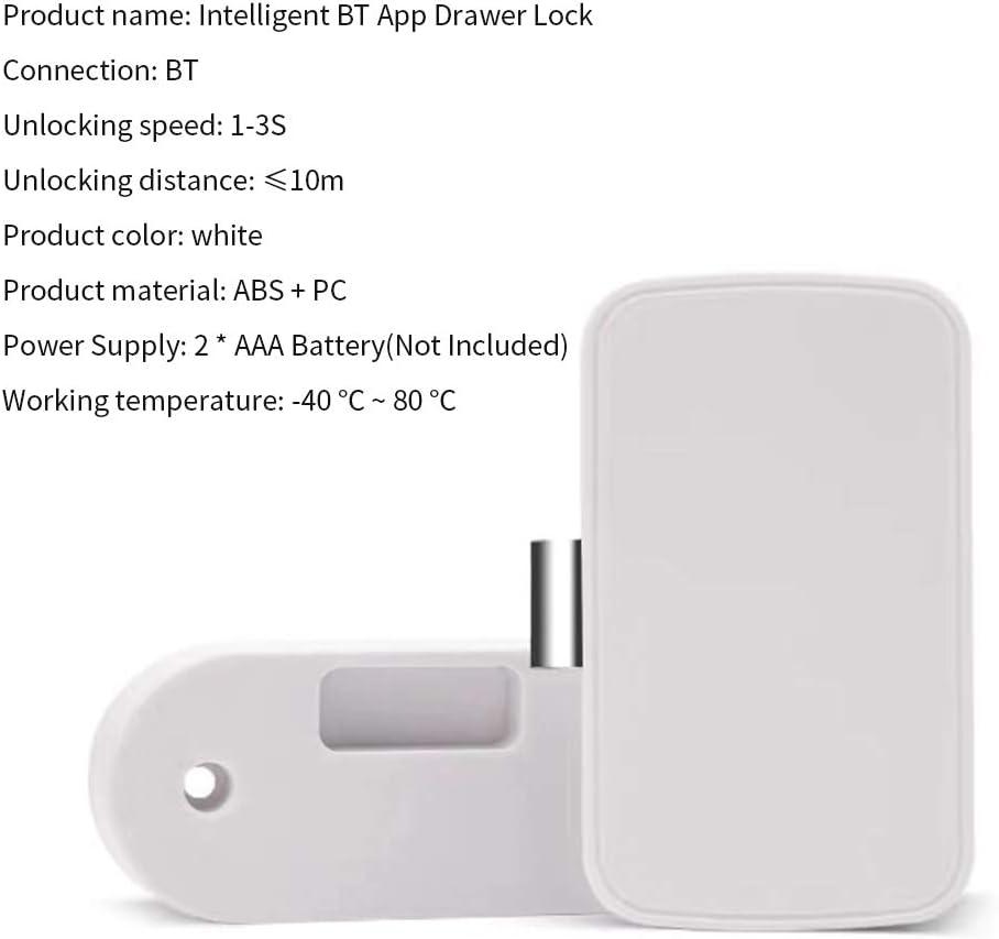 Decdeal Smart Schubladenschloss Sicherheitsschloss Schrank Keyless Versteckt Ohne Bohren BT und App Connect f/ür Nachttische Schr/änke Aktenschr/änke