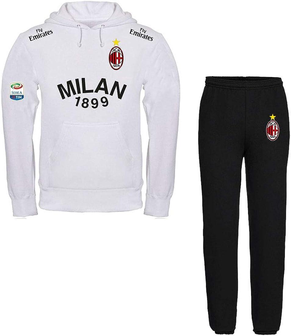 Tuta Felpata Sportiva Calcio Serie A Milan Felpa Bianca Pantalone Nero