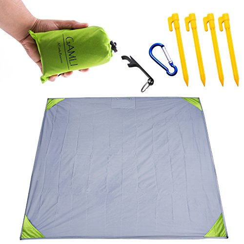 Pocket Blanket for Beach Festival - Camping Hiking Compact Size 55'x60' Fit 4 People Sand and Waterproof Puncture Resistance with Corner Pocket, Loops, 4 Stakes, Double Zipper Secure Pocket (Green) by GAMLI A Family Business