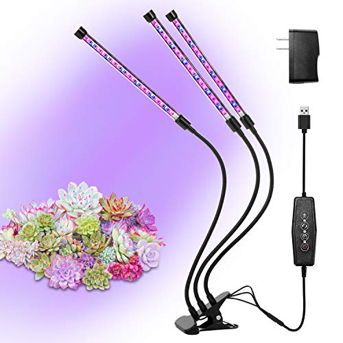 Grow Lights for Plants Growing Lamps Full Spectrum Grow Bulbs 27W 54 Led Lights with Timer 3 Head Gooseneck Professional for Plants Seeding Growing Blooming Fruiting