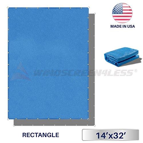 Windscreen4less Straight Edge Sun Shade Sail,Rectangle Heavy Duty 240GSM Outdoor Shade Cloth Pergola Cover UV Block Fabric - Custom Size Blue 14' X 32'