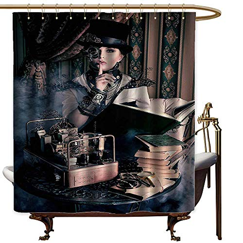 Godves Shower stall Curtains,Gothic Decor Portrait of Steampunk