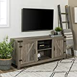 Cheap WE Furniture W58BDSDGW Barn Door TV Stand, 58″, Grey Wash