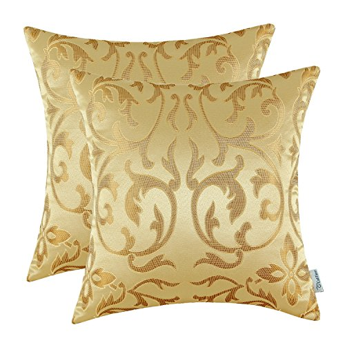 Calitime Pack Of 2 Throw Pillow Covers Cases For Couch Sofa Home Decoration Vintage Floral Two Tone Contrast Both Sides 20 X 20 Inches Yellow Gold