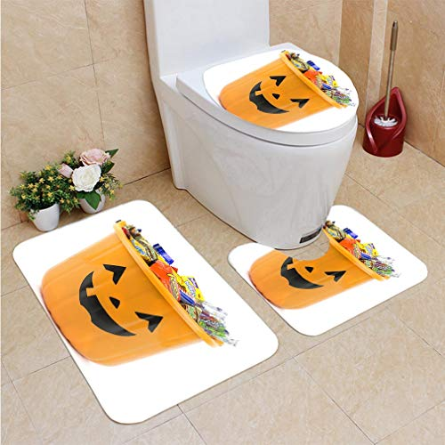 3 Sets of Bathroom Home, Bathroom Carpet + Contour pad + lid Toilet seat,Orange Halloween Bucket Filled with Candy, Flannel Carpet