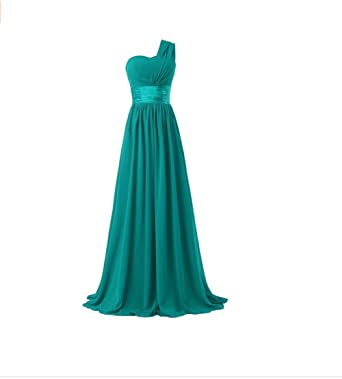 BellyLady Womens Chiffon One Shoulder Bridesmaid Dresses Prom Dresses Long Evening Gowns Green XXX-Large