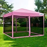 Quictent 8x8 Easy up Screen House Pop up Screen Canopy Tent with Netting Mesh Side Walls (Pink)