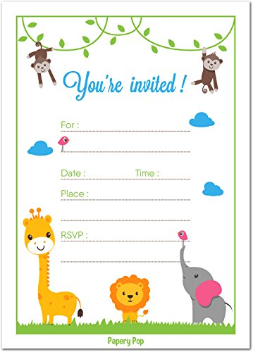 Kids Birthday Party Invitations with Envelopes (15 Count) - Baby Shower Invites, Surprise Party - Safari Jungle Zoo Animals