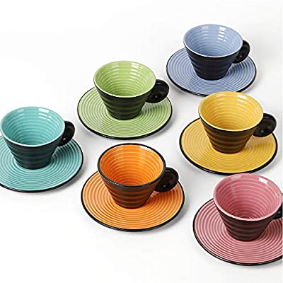 NEX Coffee Mug and Saucer Set, 6 Set of Ceramic Cup with Elaborate Embossed Swirling Lines, 2.5oz