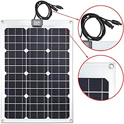 Lensun Semi-Flexible Monocrystalline Solar Panel Kit with 10A PWM Solar Charge Controller and Two 5m Cables with MC4 Connetors for 12V Charge Battery