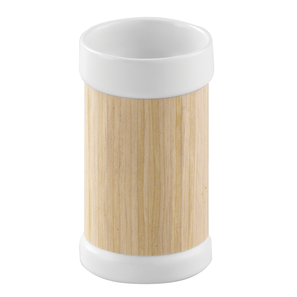 InterDesign RealWood Glass Canister to Hold Cotton Balls, Swabs, Cosmetic Pads for Bathroom Vanities - White/Light Wood Finish 90460