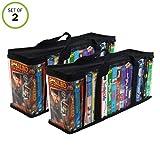 Evelots VHS Storage Bag-Movie Organizer-Video Tape-Handles-Hold 36-No Dust-Set/2