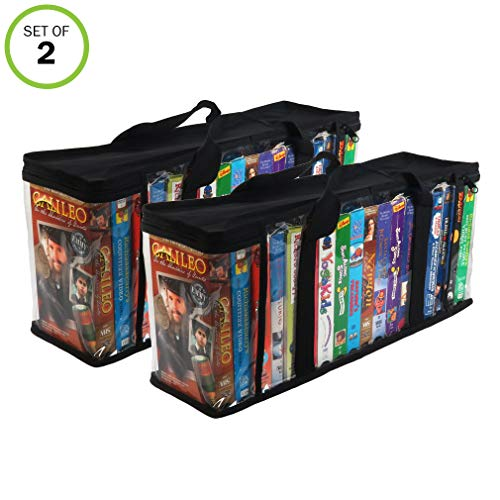 Media Storage Disney (Evelots VHS Storage Bag-Movie Organizer-Video Tape-Handles-Hold 36-No Dust-Set/2)