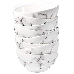 77L Porcelain Soup Bowls, [Set of 8] 8.45 FL OZ (250 ML) White Ceramic Soup/Cereal Bowls, Marble Serving Bowls Set for Soup, Ice Cream, Cereal, Salad, Pasta and More (4.5 Inches Diameter)
