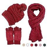 Beanie Hat Glove Scarf Set Knit Soft Warm Pom Pom Touch Screen New Design Best Gift (Red)