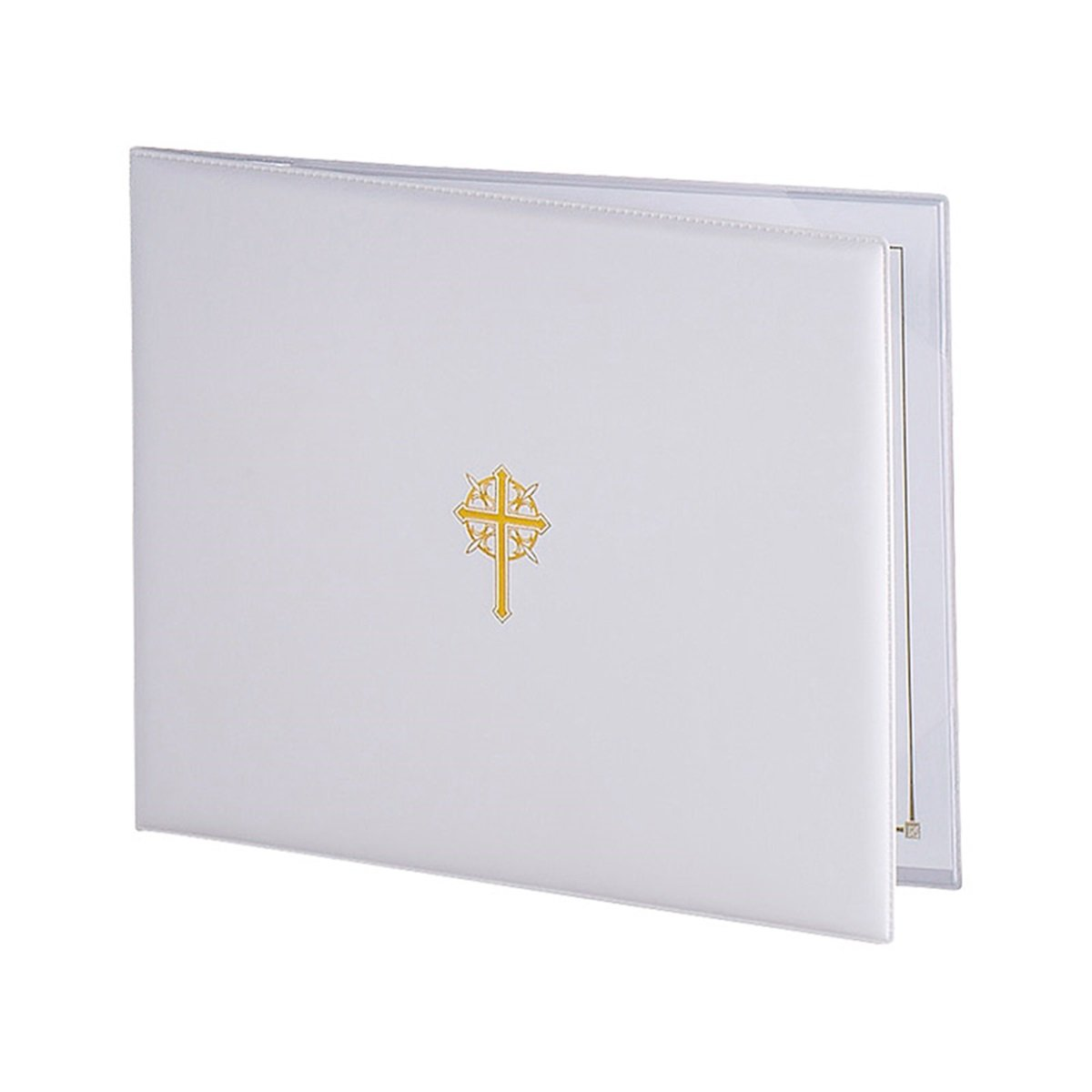 White Sacramental Padded Certificate Holder with Gold Stamped Cross Design, 10 3/8 Inch
