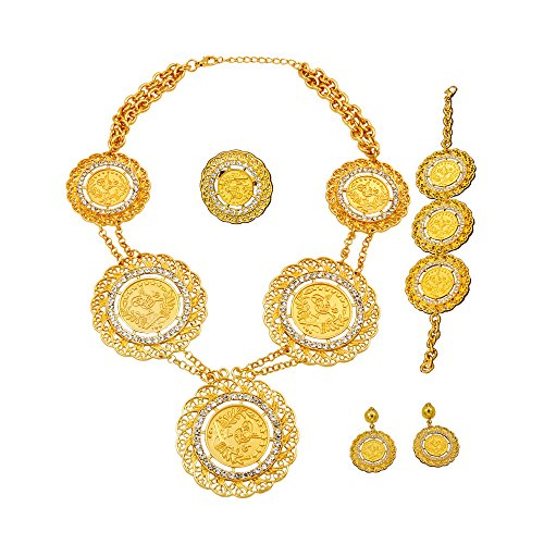 Liffly 24K Tone Italy Gold Coin Jewelry Set Fashion Women Bridal Jewelry Necklace Earrings Bracelet Ring (Indian Gold Coin)