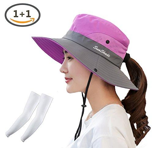 Kukcone Womens UV Protection Wide Brim Mesh Foldable Summer Sun Hat,Outdoor Hiking Camping Fishing Beach Sun Cap