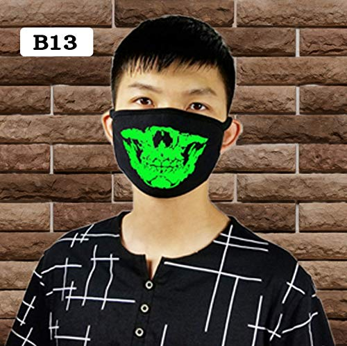 Luminous Mouth Mask, Half Face Breathable and Washable Mask Funny Print Cotton Anti-Dust Unisex Face Mouth Mask (13)
