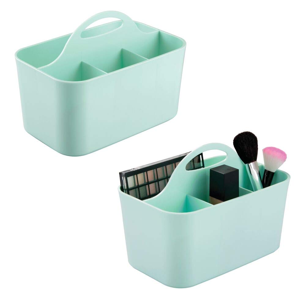 mDesign Plastic Makeup Storage Organizer Caddy Tote - Divided Basket Bin, Handle for Bathroom - Holds Eyeshadow Palettes, Nail Polish, Makeup Brushes, Blush, Shower Essentials - Small, 2 Pack - Mint
