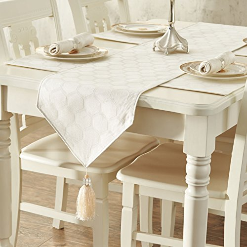 RUGAI-UE Table Runnerthe High-End Luxury Meal Flag Fabric Fashion Table Flag Milky White 35×228Cm