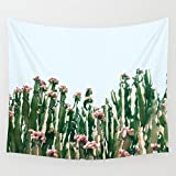Shukqueen Green Cactus with Red Flower Wall Art Hanging Tapestry Dorm Decor (60'' H x 80'' W,Cactus2)