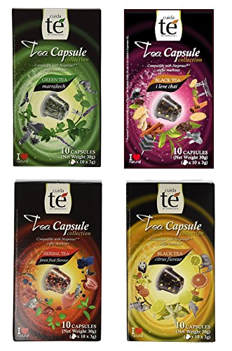ble Pods - Tea Variety Pack: Black Citrus Tea, Marrakech Green Tea, Spiced Chai Tea and Forest Fruit Tea (1 box each / 10 pods per box) ()