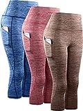 Neleus Women's 3 Pack Tummy Control High Waist Yoga Capri Leggings with Pockets,9034,red,Blue,Brown,S,EU M